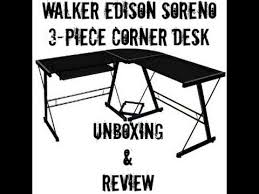 Walker Edison 3 Piece Contemporary Desk Instructions by Walker Edison Soreno 3 Piece Corner Desk Unboxing And Review Youtube