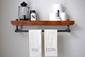 Industrial Bathroom Shelf Floating Pipe Shelf Reclaimed Wood
