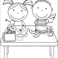 School Lunch Clipart Black And White
