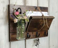 Unique Rustic Wood Mail And Key Holder Hanging Mason JarFarmhouse Wall Decor