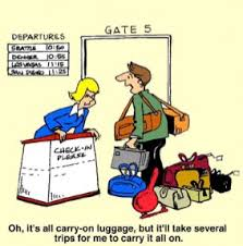 Travel Cartoon A Man At Airport Check In With Lots Of Bags Says