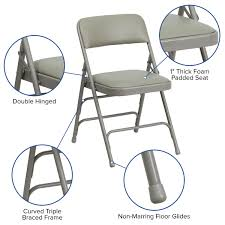HERCULES Series Curved Triple Braced & Double Hinged Gray Vinyl Metal  Folding Chair Equal Portable Easy Folding Recling Zero Gravity Chair National Public Seating Details About White Leather Padded Desk Seat Back Rest Office Computer Garden Beige Vinyl Stackable Merax High Ergonomic Gaming Pu Leather Adjustable Height Rotating Lift Advantage Grey Dove 1in Hamc309avgygg Maple Wood 5pc Xl Series Card Table And Ultra Thick Set Black 2418usb A Shape Heavyduty Premium 2 Fabric By 3200 Hercules With Inch
