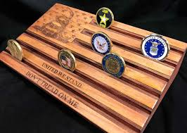 Military Holder Engraved Hanging Flag And Coin Display Case Wood American Challenge Pallet