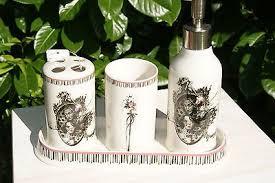bad set vintage schwarz 4 teilig shabby chic seifenspender zahnputzbecher zahnbürstenhalter