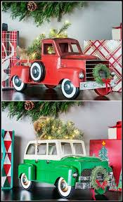 Rite Aid Christmas Tree Decorations by Red Christmas Truck And Station Wagon With Lit Tree And Wreath For