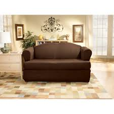 sure fit stretch pinstripe t cushion two piece loveseat slipcover