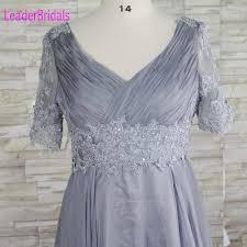 aliexpress com buy silver gray short sleeves prom dress elegant