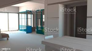 glaswand in blau eisen und glas wohnzimmer wohnraum und küche moderne innenarchitektur stockfoto und mehr bilder arbeiten