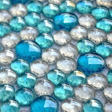 3d blue mixed clear mosaic tiles mesh backing