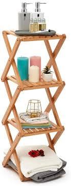ezoware faltbares badregal 4 regale aufbewahrungsorganizer aus holz schmales stehregal für schmale räume küche bad wohnzimmer buchenholz