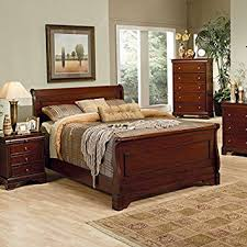 amazon com coaster queen size sleigh bed louis philippe style in