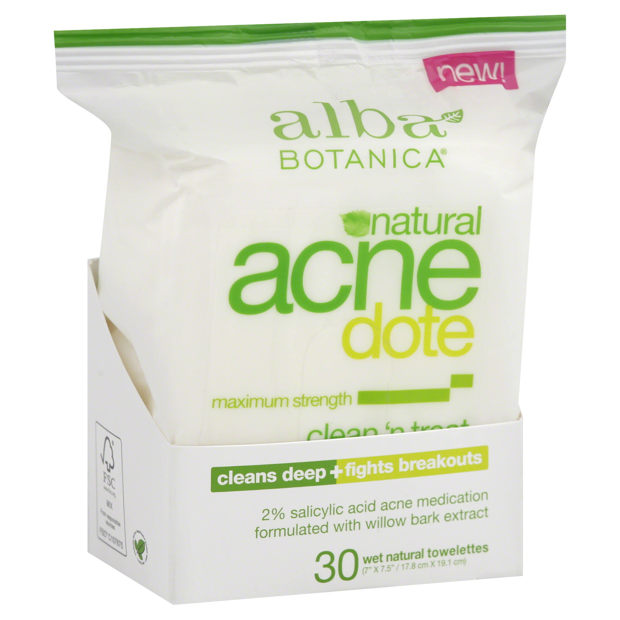 Alba Botanica Acne Dote Clean 'n Treat Daily Cleansing Wet Towelettes - 30 Pack