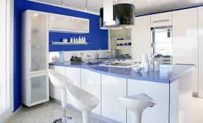 Image Of Blue And White Kitchen Cabinets