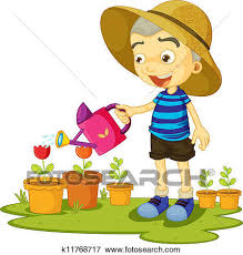 Clip Art of a girl watering plants k Search Clipart