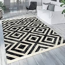 paco home teppich schwarz weiß balkon terrasse outdoor skandi design rauten muster robust grösse 80x150 cm