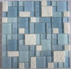 blue glass mosaic and white marble mosaic tile backsplash sgmt067