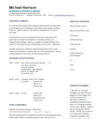 Software Engineering European Cv Template Doc Europass Sample Resume Engineer Intern Page 1