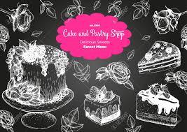 design mit tinte gezeichnet kuchen kuchen eis und waffeln weinleseschablone für bäckereimenü oder süßen haus kaufen hintergrund mit