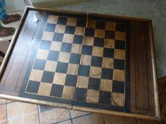 Antique French Chess Game Board Box Handmade Wooden With Marquetry Parquetry Design For Display Or Restoration