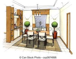 Dining Room An Artists Simple Sketch Of Interior Design A