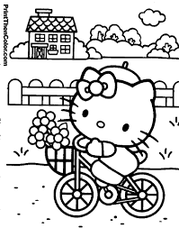 Coloring Pages Of Hello Kitty Riding A Bike With Basket Flowers In The Front