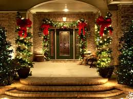 DecorationsOutstanding Front Porch Idea With Christmas Lights And Iron Wall Also Brown Mat