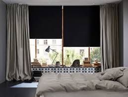 a bedroom featuring large windows with black black out