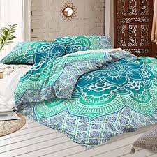 Amazon Queen Size Green Lotus Mandala Duvet Cover Quilt