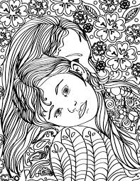 Free Printable Mother Daughter Hugging Adult Coloring Page