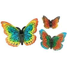 Metal Butterfly 3 Piece Wall Decor Set