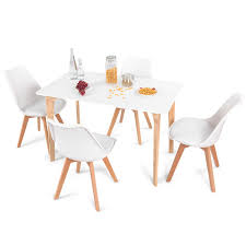 Giantex 5 Pieces Dining Table Set W 4 Chairs Home Dining Room Kitchen Waiting Room Modern Rectangular Table MidCentury Dining Chairs With Padded