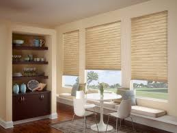 Beige Wall With Windows And Bali Blinds Matched Wooden Floor Plus Bench Dining Table