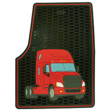 Freightliner Cascadia Red And Black Rubber Floor Mat Set