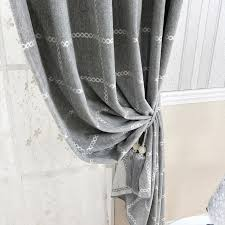 style gray chenille print plaid curtains for bedroom or living room