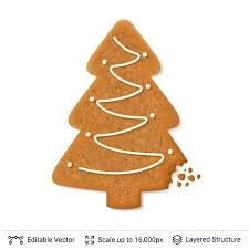 Gingerbread Cookie In Christmas Tree Shape With White Icing Isolated Vector Illustration Stock