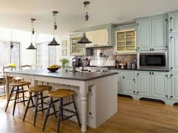 French Country Kitchen Design Blue Design Accent Color Cabinets