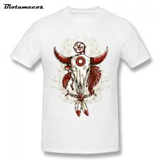 Summer Men T Shirt Goat Skull Tied With Shackle Red Horns Printed
