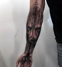 Description Wolf Tree Roots Mens Masculine Forearm Sleeve Tattoo