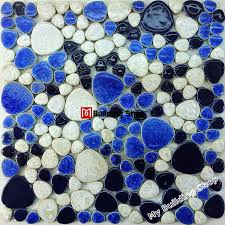 white porcelain tile pebble mosaic tiles backsplash ppmt050 blue