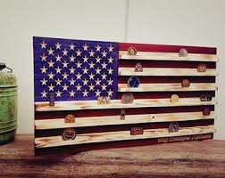 16 X 30 Military Challenge Coin Display Rack US Wood Flag For Veterans Army
