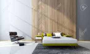 moderne schlafzimmer interieur mit einer doppelschlafcouch und schränke vor mit holzverkleidung und einem bequemen sessel in einem doppel volumen