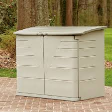 rubbermaid 4 ft 3 in w x 2 ft d plastic horizontal garbage shed