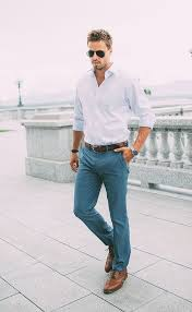 Picture Of Grey Pants A Light Blue Shirt And Brown Leather Shoes