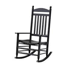 Bradley Black Slat Patio Rocking Chair