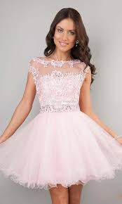 short prom dresses pink high neck beaded applique see through