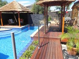 Swimming PoolMinimalist Backyard Pool Landscaping With Small Gazebo And Pallet Wooden Floor Idea Minimalist