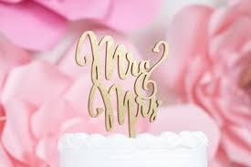 Laser Cut Mr Mrs Script Cake Topper Rustic Wedding Rose Gold