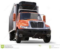 Orange Cargo Refrigerator Truck With Black Trailer Stock ...