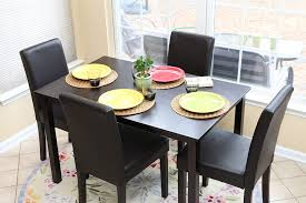 LIFE Home 5 PC Black Leather 4 Person Table And Chairs Brown Dining Dinette  - Black Parson Chair Alexia 5 Pcs Contemporary Set 4 Black Chairs And White Modern Table Inspire 5piece Greywhite Kids Table And Chair Set Garden Trading Rive Droite Bistro Chairs Shutter Blue Costway Piece Ding Wood Metal Kitchen Breakfast Fniture Black Rakutencom Black Table Chairs Dorel Living Devyn 3piece Faux Marble Pub Ikea In Camberwell Ldon Gumtree Brooklyn Oak Leather Bro103 Warmiehomy Glass 6 With 2375 Square Inoutdoor 2 Meco Sudden Comfort Deluxe Double Padded Back Card Courtyard Cosco Foldinhalf Folding