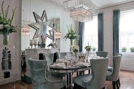 Velvet Dining Room Chairs Holiday Style Cool Blue Decor Mirrored Edge Table